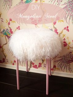 Cheap and easy stool for makeup table (IKEA Hackers: MARIUS Mongolian Lamb Stool)