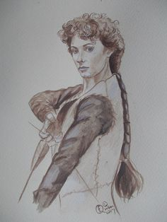 Marion of Leaford from the tv series 'Robin of Sherwood' by Frances Quinn Frances Quinn, Painted Antlers, Maid Marian, Pencil Painting, Middle Ages, Robin, Tv Series, Medieval, Wolf