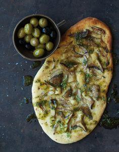 Focaccia mit Kräuterseitlingen (vegan, essen und trinken)