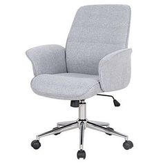 Office Computer Chair Grey Swivel Modern Mid-Back Fabric Pc Desk Home Furniture
