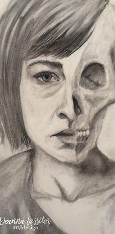 charcoal drawing skull self portrait