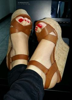 Gift for u cork beautiful wedges #sandalsheelswedge