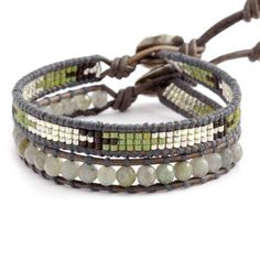 Chan Luu - Labradorite Mix Single Bracelet Set on Natural Grey Leather, $115.00 (http://www.chanluu.com/bracelets/labradorite-mix-single-bracelet-set-on-natural-grey-leather/)