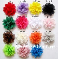 2'' Chiffon flower hair accessories shabby flower for headband craft fabric wholesale flowers #Affiliate