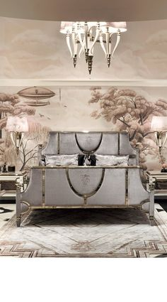 I love this wall paper, with clouds extended to the ceiling. However, I do not know the source.