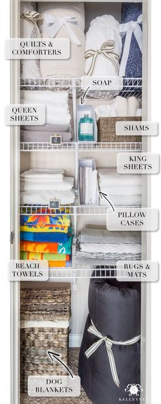 A Small Organized Linen Closet (And Ideas to Store Bulky Bedding) . A Small Organized Linen Closet (And Ideas to Store Bulky Bedding) Linen Closet Organization, Home Organisation, Bathroom Organization, Organization Hacks, Bathroom Storage, Organize A Linen Closet, Basket Organization, Organizing Small Closets, Organizing Ideas