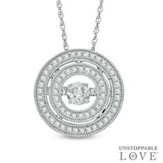 Unstoppable Love™ 3/8 CT. T.W. Diamond Vintage-Style Double Frame Pendant in 10K White Gold - View All Necklaces - Zales