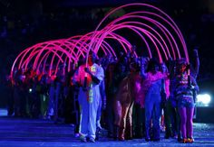 Performers take part in the opening ceremony of the London 2012 Olympic Games at the Olympic Stadium July 27, 2012.