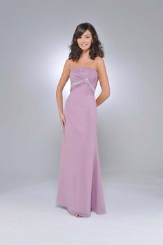Chiffon Strapless Ruched Bodice Floor Length Bridesmaid Dress