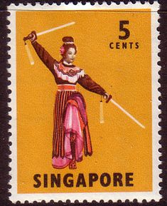 Singapore 1968 Sword Dance Fine Mint  SG 103 Scott 86 Other Asian Postage Stamps HERE