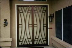 Front Door With Bronze Security Door : Exterior Security Doors For Houses Security Door Design, Railing Design, Grill Door Design, Window Design, Wrought Iron Doors, Steel Doors, Front Gate Design, Grill Gate Design, Steel Door Design