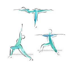 Yoga Tattoos, Yoga Images, Yoga Illustration, Yoga Studio Decor, Warrior Pose, Spiritual Warrior, Yoga Poses, Yoga Sequences, Yoga Art