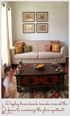 My Living Room a reflection of INDIA - Diwali Inspiration - Day 3 - Simple and elegant by the east coast desi artist. Art Deco Living Room, Simple Living Room Decor, New Living Room, Centre Table Living Room, Simple Rooms, Indian Home Interior, Indian Interiors, Ethnic Home Decor, Indian Home Decor