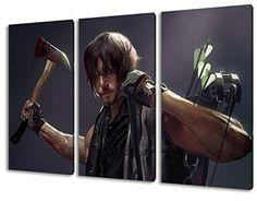 The Walking Dead, Daryl, 3-teiliges Leinwandbild (120cm x 80cm), TOP-Qualität! Wand-Bild erhältlich von klein bis groß (XXL) Made in Germany! Preiswerter fertig gerahmter Kunst-Druck zum Aufhängen - tolles und einzigartiges Motiv. Kein Poster oder Plakat!
