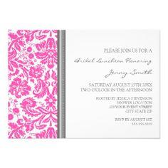 Pink Gray Damask Bridal Lunch Invitation