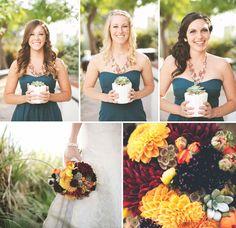 Fun + Stylish Circle Themed Wedding: Hanna + Randy I love the bridesmaids arrangement!