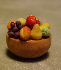 "All Through The House 1/2"" Scale Miniature Bowl of Fresh Fruit"