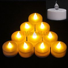 Ships From CA,USA Battery-powered Flameless Wedding Tea Light Tealight Christmas Birthday Wedding Party Deco LED Candle Indoor Candles Lights Decorative (10, YELLOW)
