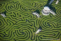 Longleat maze near Bath is the largest in Britain, photo by Jason Hawkes/Britain from Above