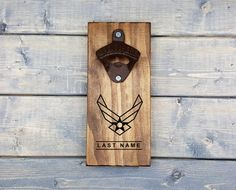 Personalized Wall Beer Opener, Wall Bottle Opener, Bottle Opener, Beer Opener, Man Cave, US Air Force, Air Force, Airman, Aviation