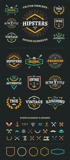 Buy True Hipster Vector Set by Vecster on GraphicRiver. Set of hipster emblems, badges and design elements. Cool old fashioned labels for retro styled design. Hipster Vector, Hipster Logo, Hipster Shirts, Logo Inspiration, Fashion Inspiration, Hipster Design, Fashion Logo Design, Web Design, Design Ideas