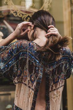 Vintage Look Slit-Back Drop-Waist Flowy Chiffon Midi Dress with Subtle Sequin Detail