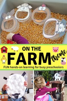 Fun hands-on ideas to keep busy preschoolers and toddlers entertained.  This activity list includes Feed the Farm Animals, Milk the Cow, Handprint chickens, and chicken and egg sensory play.