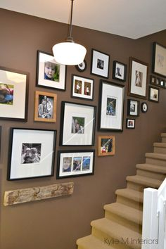 List of Benjamin Moore's best neutrals: Benjamin moore chocolate fondue brown paint colour with art gallery or display up stairwell wall Stairwell Wall, Gallery Wall Staircase, Staircase Design, Stairway Photo Gallery, Cream Paint Colors, Brown Paint Colors, Paint Colours, Neutral Paint, Stairs