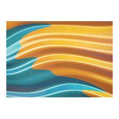 Orange Teal Modern Wave Fractal Art Cotton Linen Tablecloth 60