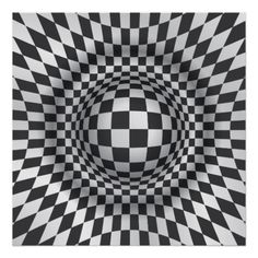 Black white op art optical illusion abstract custom print/poster, featuring a geometric B&W optical illusion chequered pattern of squares, rectangles and lozenges that form a circle and a sphere in the centre.