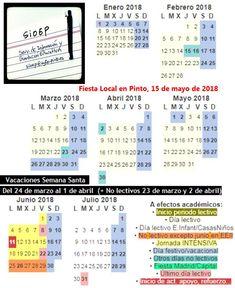 #CalendarioEscolar #Madrid #semanasanta #eduPinto Periodic Table, Madrid, Diagram, School Calendar, Vacations, Fiestas, Periodic Table Chart