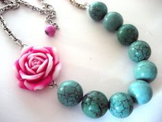 Asymmetrical Rose Necklace in pink and turquoise $20