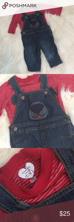 TCP Bear Denim Overalls & Red Top 6-9 Mo Blue denim overalls with a bear theme on front includes the matching long sleeve red top with thin white stripes. Size 6 to 9 months by The Children's Place. Only worn once. The Childrens Place Matching Sets