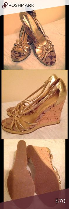 Authentic Coach Joslin Wedge Gold Sandals Coach Joslin sandals, size 8.5. Extremely good condition and barely worn. 4 inch cork platform, with classic Coach jacquard fabric and beautiful gold straps. Coach Shoes Wedges
