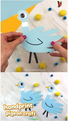 Handprint Pigeon Craft For Kids If your children love Don't Let The Pigeon Drive The Bus or the other pigeon children's books, they'll love making this simple handprint craft. It's a fun and easy craft for kids. #simpleeverydaymom #kidsactivities #kidscrafts #craftsforkids #childrensbook #preschool #preschoolactivities #preschoolers #preschoolcrafts #kindergarten #classroom #ideasforlids<br> Learn how to make this easy handprint pigeon craft inspired by children's book author Mo Willems… Paper Crafts For Kids, Easy Crafts For Kids, Diy For Kids, Craft Kids, Quick Crafts, Creative Crafts, Simple Origami For Kids, Cereal Box Craft For Kids, Summer Crafts For Preschoolers