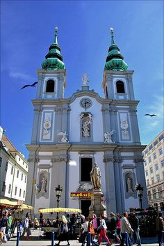 Mariahilfer Cathedral & Joseph Haydn Statue, Mariahilfer Straße, Vienna, Austria. | Flickr - Photo Sharing!