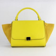 celine yellow leather clutch bag trapeze
