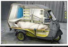 Bufalino - transforming a Piaggio APE 50 tricycle into a one-man camper.