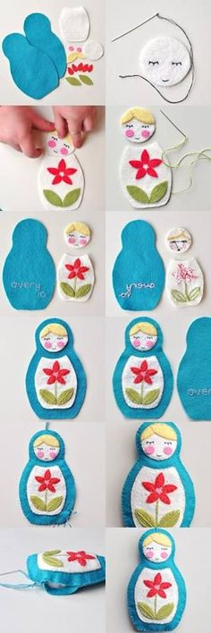 Russia matryoshka dolls in felt; Felt Diy, Felt Crafts, Fabric Crafts, Sewing Crafts, Sewing Projects, Craft Projects, Diy Crafts, Felt Fabric, Fabric Dolls