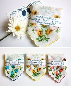 Love, love, love these invitations...Vintage handkerchief wedding invitation by Benign Objects