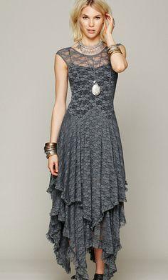 boho gray dress lalalilo.com