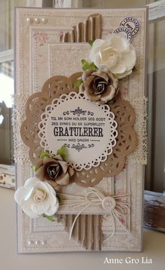 Anne Gro Lia Bursdagskort Craft&You DT for Scrappiness Shabby, Flower Cards, Ark, I Card, Cardmaking, Dots, Paper Crafts, Scrapbooking, Frame