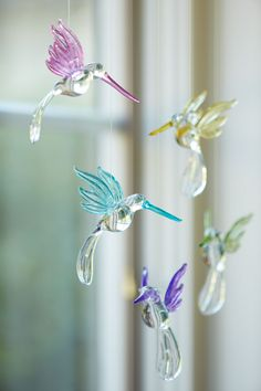 Set of 5 Hummingbird Ornaments for Easter