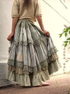 The Taupest Bustleback OverDyed Upcycled Tattered Long Dreamy SKIRT AuraGaia 6-2X Battenburg Lace, Vintage OverDyed Whitework Embroidery Butterflies; random patches, ruffles, crochet lace, doily pockets, taupe, safari gray, mushroom, chamois, cafe au lait, camel. in linens, muslin, cottons, laces.: