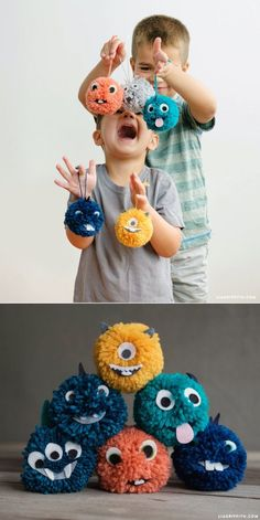 Video Tutorial: Yarn Pom Pom Monsters #crochetyarn pompom Monster selbst gemacht