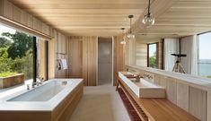 "Peconic House, Hampton Bays, New York. ""The Hamptons enjoys a storied past. Nachhaltiges Design, Modern Design, Interior Design, Modern Interior, Design Trends, Design Ideas, Beachfront House, Wooden Bathroom, House And Home Magazine"