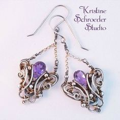 victorian art nouveau earrings in sterling silver and amethyst   Kristine Schroeder Studio
