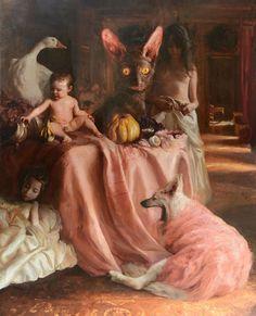 """""""Sade y el gato"""" óleo sobre tela 180 x150 cm Guillermo Lorca García-Huidobro"""