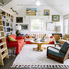 White planks add a breezy feel: Trust your taste - Steal The Look Of This Waterfront Cabin - Sunset