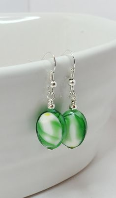 Green Lampwork Earrings Green with White by LynnsGemCreations